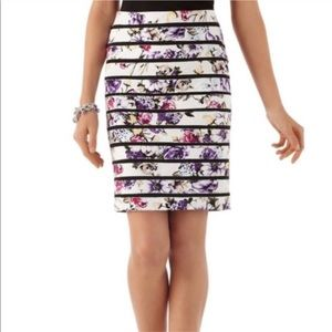 WHBM Textured Stripe Floral Pencil Skirt SIZE 2